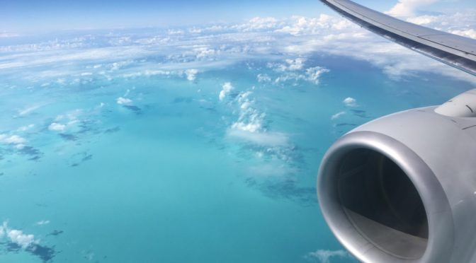 Flying over the Bahamas
